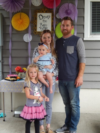Rose's Alice in Wonderland First Birthday Party - Family Pic