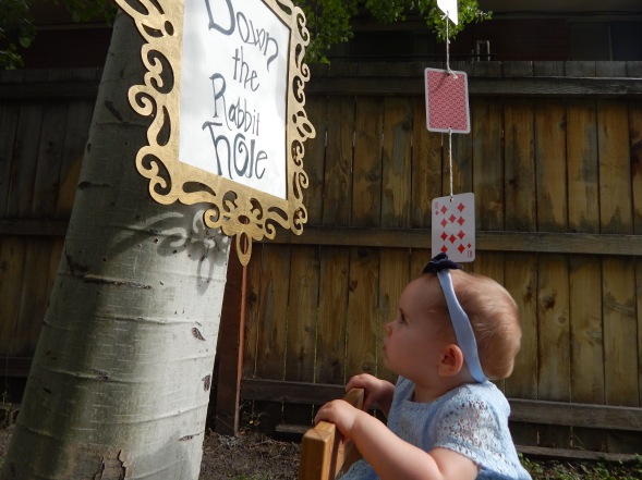 Alice in One-derland First Birthday Theme - Down the Rabbit Hole Sign