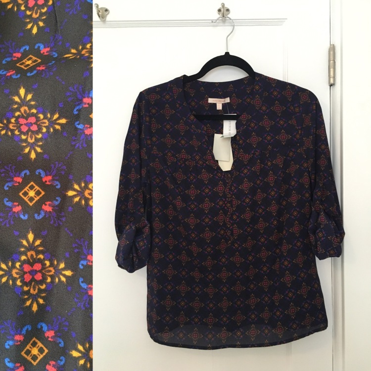 Three Whims: Skies are Blue York Print Roll-Tab Blouse
