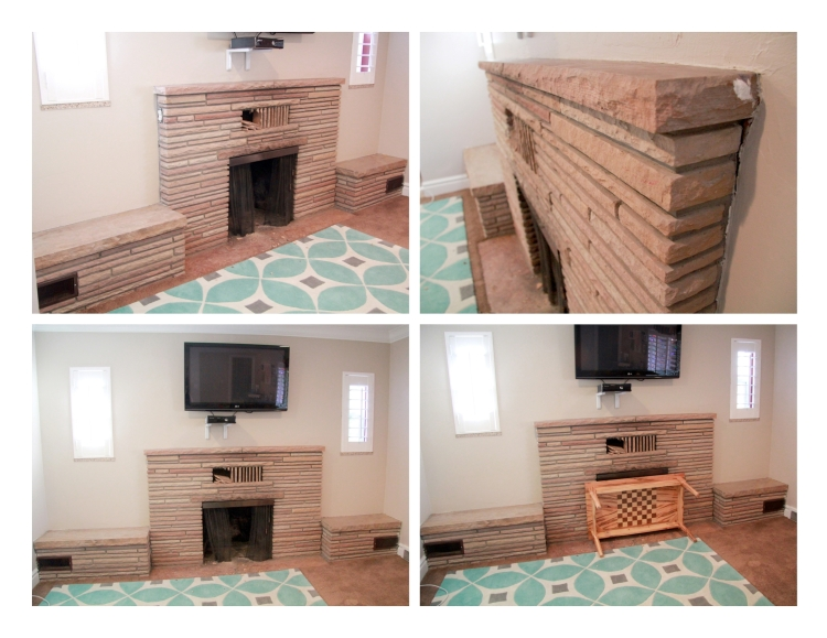 Three Whims: DIY firplace mantle reveal - the before photos