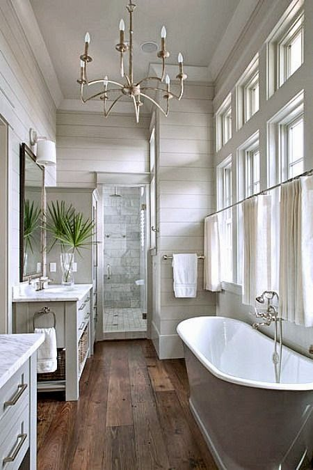 Three Whims: Favorite Pinterest Modern Farmhouse Bathroom Inspirations